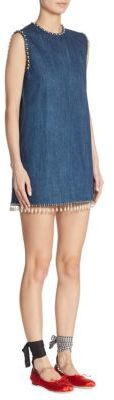 Miu Miu Miu Miu Embellished Denim Mini Dress