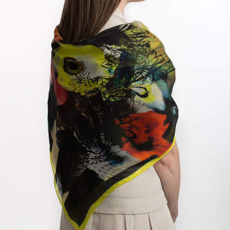 Sarah Joy Frost Floral Silk Square Scarf