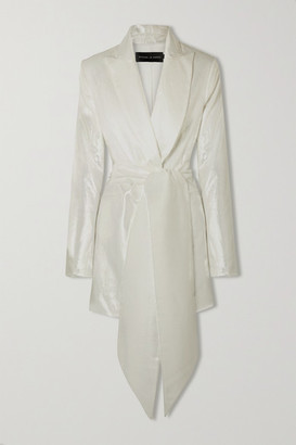Michael Lo Sordo Marina Belted Metallic Velvet Blazer - White