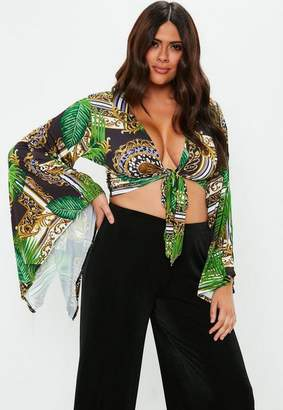 Missguided Curve Green Palm Print Tie Front Crop Top