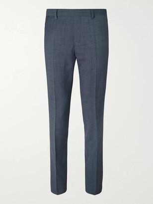 HUGO BOSS Black Genesis Slim-Fit Virgin Wool Trousers - Men - Blue