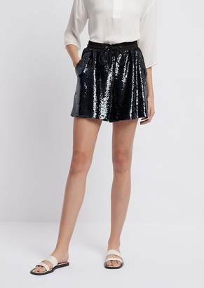 Emporio Armani Shorts In All-Over Sequined Fabric With Drawstring