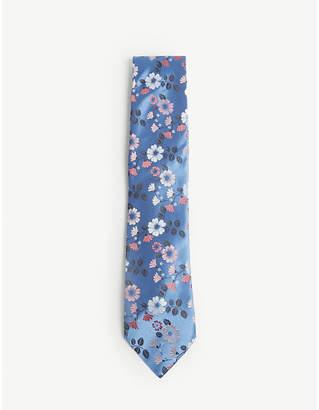 Duchamp Mirage floral print silk tie