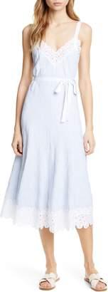 Rebecca Taylor Stripe Lace Detail Stretch Cotton Sundress