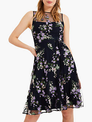 Phase Eight Lia Fit and Flare Dress, Navy/Lilac