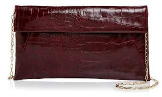 Aqua Medium Croc-Embossed Foldover Crossbody Clutch - 100% Exclusive
