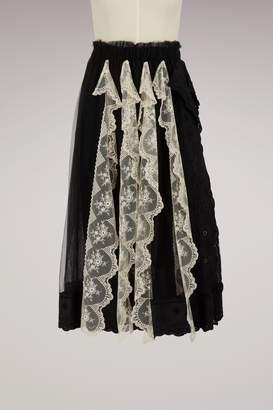 Simone Rocha Lace trim pleated skirt