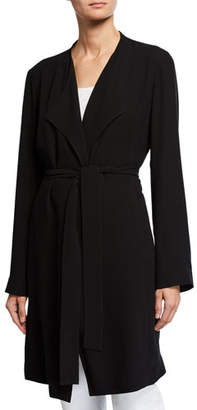 Eileen Fisher Silk Crepe Belted Trench Jacket