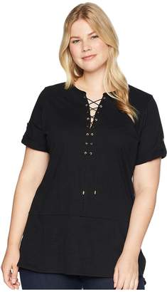Lauren Ralph Lauren Plus Size Lace-Up Cotton Tunic Top Women's Clothing