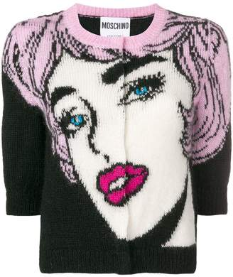 Moschino cropped pop art cardigan