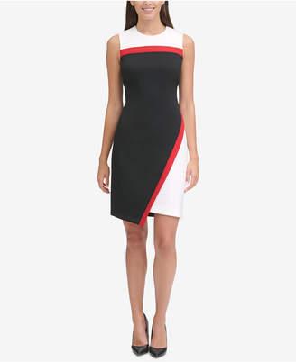 Tommy Hilfiger Scuba Asymmetrical Hem Sheath Dress