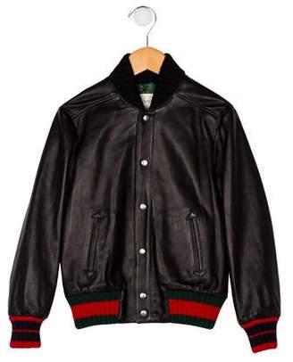 Gucci 2018 Boys' Leather Bomber Jacket