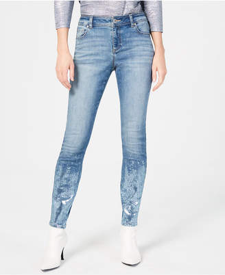 INC International Concepts I.n.c. Petite Foiled-Hem Skinny Jeans