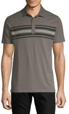 Saks Fifth Avenue Striped Front Cotton Polo