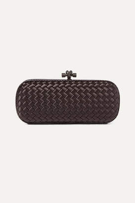 Bottega Veneta Long Knot Watersnake-trimmed Intrecciato Satin Clutch - Dark purple