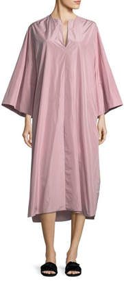 The Row Darrow Split-Neck Oversized Taffeta Midi Dress