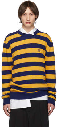 Loewe Navy and Yellow Cashmere Stripe Sweater