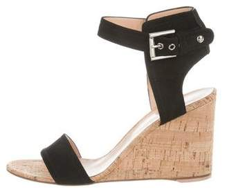 Gianvito Rossi Ankle Strap Suede Wedges