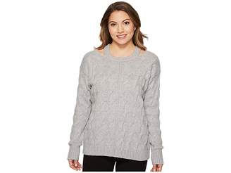 Vince Camuto Specialty Size Petite Long Sleeve Cable Sweater with Neck Cut Out Women's Sweater
