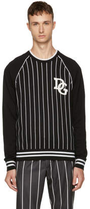 Dolce & Gabbana Black and White Striped The King Sweater
