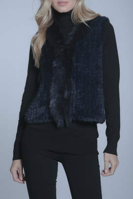METRIC Faux Fur Navy Vest