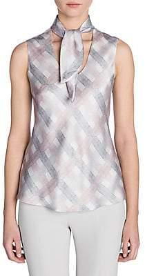 Giorgio Armani Women's Sleeveless Printed Silk Neck Scarf Blouse