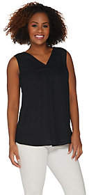 Joan Rivers Classics Collection Joan Rivers Sleeveless V-Neck Silky Blouse
