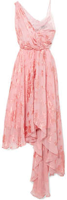 Elenora Asymmetric Devoré Silk-blend Chiffon And Crepe De Chine Dress - Pink