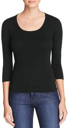 Three Dots Scoop Neck Three Quarter Sleeve Tee