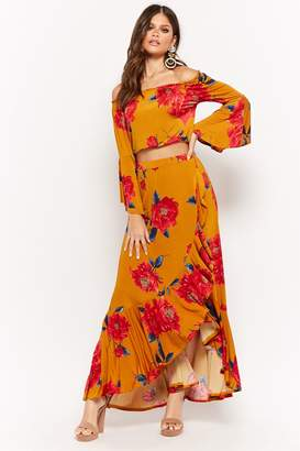 Forever 21 Floral Off-the-Shoulder Crop Top & Maxi Skirt Set