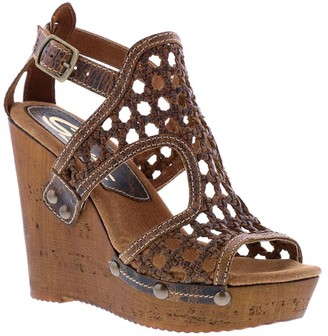 Sbicca Leather Woven Wedge Sandals - Alameda