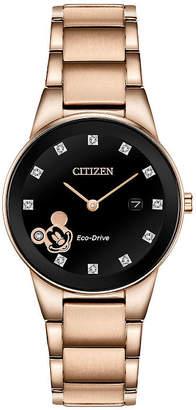 Citizen Disney Mickey Mouse Womens Rose Goldtone Stainless Steel Bracelet Watch-Ga1056-54w