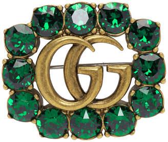Gucci Green Crystal Marmont Brooch 0Q5TBJ