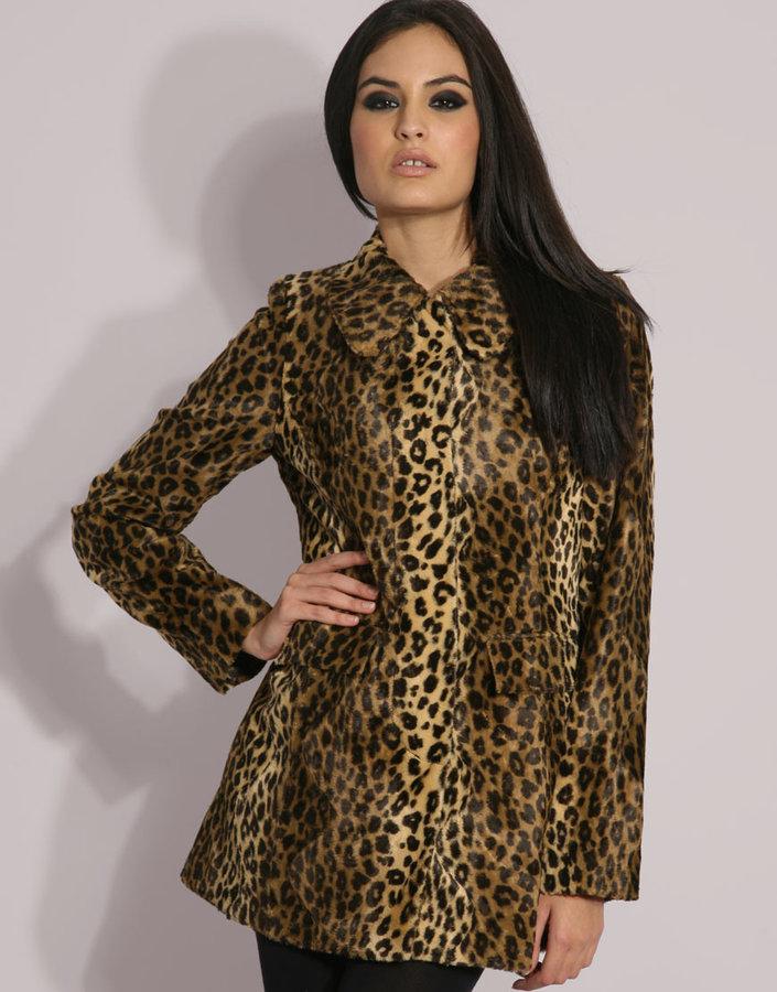 Oasis Leopard Faux Fur Coat