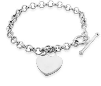 FINE JEWELRY Sterling Silver Heart Tag Toggle Bracelet $249.98 thestylecure.com