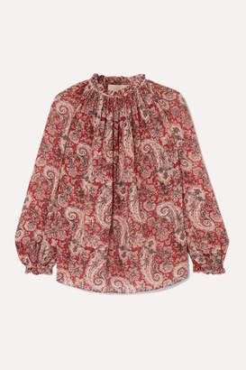 Vanessa Bruno Meyer Printed Metallic Fil Coupe Voile Blouse - Red