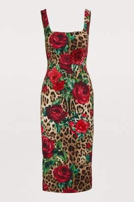 Dolce & Gabbana Leopard and rose print midi dress