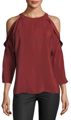 Ramy Brook Vivica Silk Crepe Cold-Shoulder Top