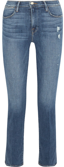 Frame Distressed High-rise Straight-leg Jeans - Mid denim
