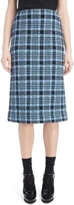 Dries Van Noten Long Plaid Pencil Skirt