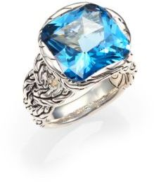 John Hardy Classic Chain London Blue Topaz & Sterling Silver Braided Ring $995 thestylecure.com
