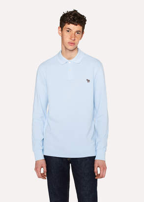 Paul Smith Men's Light Blue Organic-Cotton Zebra Logo Long-Sleeve Polo Shirt