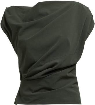 Lemaire Pleated Cowl Neck Cotton Blouse - Womens - Dark Green