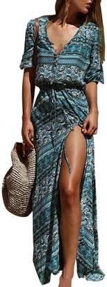 JudyBridal Bohemian Women's Beach Dress V Neck Long Summer Maxi Slit Dress S