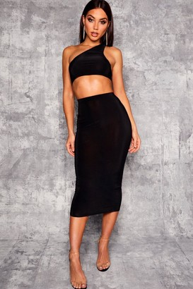 boohoo High Waist Slinky Fitted Midaxi Skirt