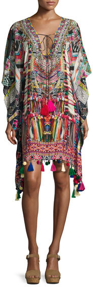 CamillaCamilla Printed Embellished Lace-Up Short Caftan Coverup, Multi