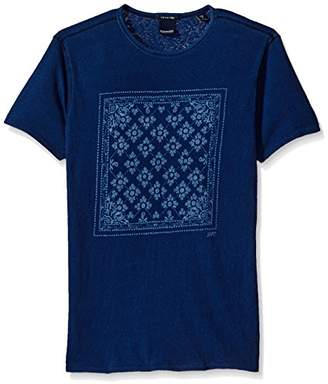 Scotch & Soda Men's Indigo Placement Print Tee in Rich Slubby Fabric and Standar