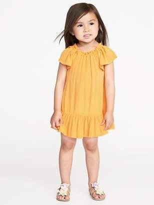 Old Navy Ruffled Flutter-Sleeve Crepe Dress for Toddler Girls