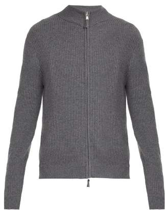 Allude Ribbed Knit Cashmere Cardigan - Mens - Grey