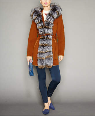 The Fur Vault Fox-Fur-Trim Hooded Belted Wool Coat